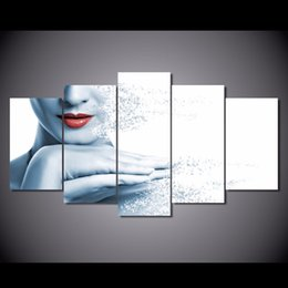 Discount painting canvas lips - 5Pcs Set HD Printed lips woman disintegrating Painting Canvas Print room decor print poster picture canvas ocean paintin