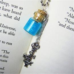 Cork Necklaces NZ - 12pcs lot Eat Me Alice in Wonderland Necklace Magic Cork Vial Pendant White Rabbit Charm silver tone