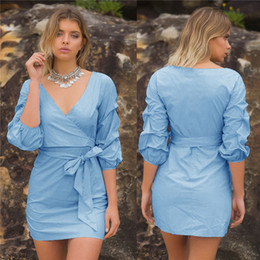Barato Dhl Vestidos De Verão Para As Mulheres-New Summer 2017 Dress Sexy Casual Loose Short V-Neck Dress Sashes Asymmetrical Blue Office Dress Mulheres Vestuário Vestidos DHL DY170908