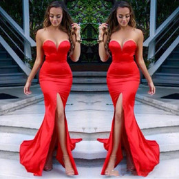Robes Formelles Sexy Sans Dos Pas Cher-Sexy Sweetheart Backless Long Robe de soirée Mermaid High Split Plis Long Red Satin Formal Evening Party Black Girl Dress