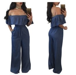 Mameluco Largo Denim Baratos-Mujeres pantalón largo Denim Jumpsuit de hombro Ruffle pantalones largos Romper con Pocket Playsuit Bodycon Clubwear Backless cordón Partido Bodysuit