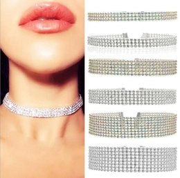 Wholesale Fashion Women Full Crystal Rhinestone Choker Necklace Choker Shinning Transparent Generous Torques Necklace Wedding Jewelry Sizes