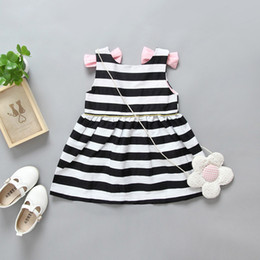 Cotton Frocks Designs Canada - Summer White And Black Stripe Kids Girl Dress 2017 Baby Girl Party Dress Children Frocks Designs Backless Dress Patterns