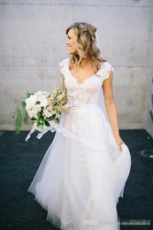 $enCountryForm.capitalKeyWord Canada - Bohemian Hippie Style A Line Wedding Dresses 2016 V Neck Cap Sleevs Lace Sheer Backless Cheap Summer Boho Beach Garden Country Bridal Gowns