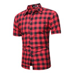 Wholesale short sleeve plaid shirt men resale online - Red And Black Plaid Shirt Men Shirts New Summer Spring Fashion Homme Leisure Shirt Mens Dress Shirts Short Sleeve Shirt Men