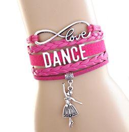 $enCountryForm.capitalKeyWord NZ - Wholesale- 10pcs Love Dance to Infinity and Beyond Bracelet Dancer Wrap Bracelet Hot Pink Black Dance school gift Suede Leather Bracelet