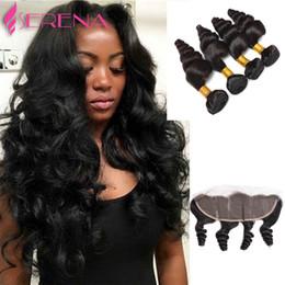 $enCountryForm.capitalKeyWord NZ - Brazillian Hair Bundles With Closure Brazilian Virgin Hair Loose Wave 4 Bundles with Closure 7a Grade Lace Frontal Closure