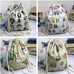 canvas print wholesale Canada - 50pcs 2017 New Arrival Backpack style cotton canvas Brief Animals Owls Birds printed women girl Drawstring Shoulder Bags Backpack bags