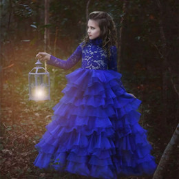 Discount new girls t shirt 2017 New Arrival Flower Girl Dresses Royal Blue High Neck Long Sleeves Ball Gown Lace Appliques First Communion Pageant