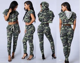 Pantalons De Survêtement Pour Femme Pas Cher-2017 Grandes Filles Survêtement Femmes Hoodies Sweat-shirt + Long Pantalon de Course de Sport Survêtement Mode Camouflage À Capuchon Vêtements Casual Survêtement