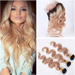 $enCountryForm.capitalKeyWord Canada - Honey Blonde Ombre 360 Lace Frontal Closure With Weaves Body Wave 1B 27 Light brown Ombre Peruvian Hair 3Bundles With 360 Lace Closure
