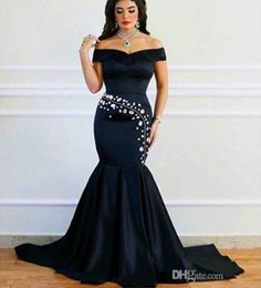 $enCountryForm.capitalKeyWord Canada - 2016 New Arabic Sexy Off The Shoulder Satin Mermaid Evening Dresses Ruched Beaded Stones Floor Length Party Prom Dresses