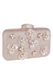 Großhandel Handgemachte Blumen Perlen Braut Handtaschen Frauen Clutch Taschen für Abend Promis Damen Schminktäschchen Taschen mit Kette CPA955