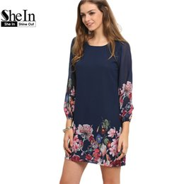 Vêtements De Dames Bleu Foncé Pas Cher-Vente en gros- SheIn Ladies Autumn Fashion 2017 Robe à manches longues Vêtements décontractés Vêtements Dark Blue Lantern Sleeve Floral Shift Dress