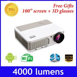 Proyector Wifi Australia - Wholesale-4000 lumens built-in android 4.2 wifi full HD 1080p mini DLP 600w active shutter 3D projector,convert 2D to 3D proyector