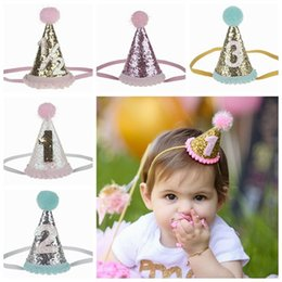 2017 baby hair crown headband girls first birthday crowns tiaras glitter headbands  1st birthday hat princess hair accessories party supplies 134bd801fc0