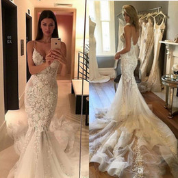 2017 Sexy New Pallas Couture Wedding Dresses Spaghetti Straps Mermaid Open Back Court Train Appliqued Full Lace Custom Made Bridal Gowns