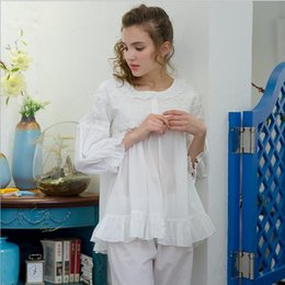 Korean Sexy Nightgown NZ - Nightgowns Warm Sleepwear Korean Girl Lace  Embroidery Lovely leisure pajamas Cotton 41cf44ad9