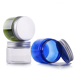 Chinese  10pc lot New 50g Grams PET Cosmetic Cream Jar Bottle With Aluminum Lid Empty Blue Jar Bottle Packing Box With A Wide Plastic Lid manufacturers