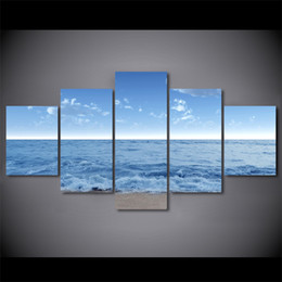 seascapes oil NZ - 5 Pcs Set Framed HD Printed Sea Level Seascape Waves Wall Art Poster Pictures Room Decoration Artworks Canvas Modern Oil Painting