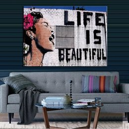 Life Size Figures Australia - Life Is Beautiful Hand Painted Banksy Abstract Graffiti Art Oil painting,Home Decor on High Quality Canvas size can be customized