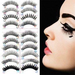 Barato Mistura De Cílios-Atacado - Black 10 Pairs Styles Mix Cílios falsos Maquiagem artesanal Natural Long Fake Eye Lashes Set