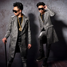 nightclub ds clothing NZ - long jacket pants boy singer male suits stage costume 2 pieces sets dancer performance dress show nightclub bar ds clothes Blazer Slim wear