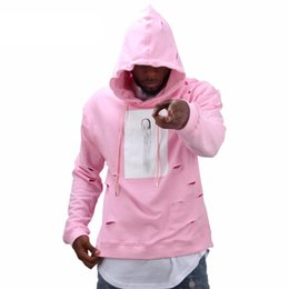 Mens hip hop sweat suits online shopping - Mens hip hop pink hoodies sweat suit tracksuit men with the hole hoodies winter male streetwear free shippi