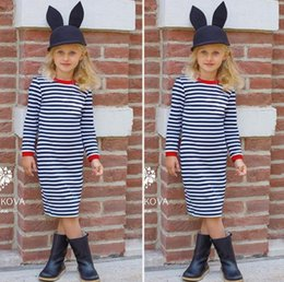 Barato Meninas Boutique Vestido Da Listra-Great Quality INS Autumn Lovely Baby Girls Dress Stripe Vestido de manga comprida Casual One-Piece Boutique Party Costume Toddler Clothes