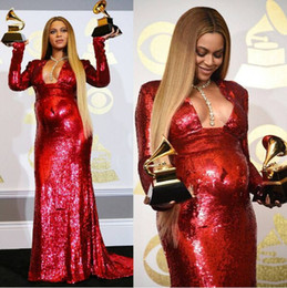 Images Brooch Flowers Australia - Grammy Awards 2017 Beyonce Pregnant Red Carpet Celebrity Dresses Sparkly Red Sequins Long Sleeve Maternity Mermaid Occasion prom dress