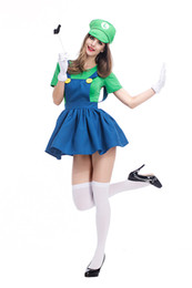 $enCountryForm.capitalKeyWord UK - Halloween Masquerade Super Mary Cosplay New Real Women Movie Role-playing Plumber Disfraces Dress Stage Party Costumes with gift bag PS034
