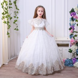 Barato Bordado Casamento Ruffles-Lace Girls Dress Flower bordados Crianças Vestidos de dama de honra Ruffle Kids Dress Up Dress Wedding Dress da dama de honra C2615