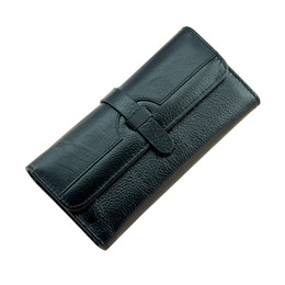 $enCountryForm.capitalKeyWord Canada - Wholesale- 100% Lychi Cowhide Leather Wallet Women Trifold Long Genuine Leather Clutch Purse Hasp Female Cellphone Bag Girl Card Holder