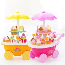 mini shopping toys Canada - 39PCS Set Children Toys Simulation Mini Candy Ice Cream Trolley Lighting Music Shop Kid Pretend Playing Christmas Gift