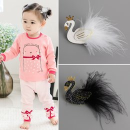 baby hair clips korea 2019 - 2016 New Style Baby Girls swan style hair clips South Korea pop girl saft hairpin baby hair accessories 20ps lot discoun