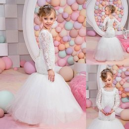 Robe De Mariée Sirène De Sirène Pas Cher-Tutu White Lace Mermaid Flower Girl Robes Pour Mariage Manches Longues Kids Communion Dress 2017 Girls Pageant Robes Child Evening Gowns