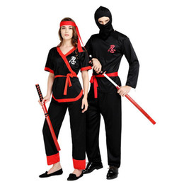 woman ninja costume Canada - 2017 New Adults Lovers Ninja Cosplay Costume Japanese Warrior Costumes Women Men Halloween Carnival Party Dress Supplies