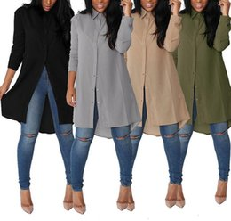 blouses size xl Canada - Autumn 2017 new fashion women denim dress casual loose long sleeved T shirt dresses plus size Blouses