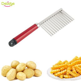eco potato cutter Canada - Delidge 20 pc Potato Wavy Cutter Stainless Steel Vegetable Fruit Cutting Knife Potato Cucumber Carrot Waves Cutter Cooking Tool