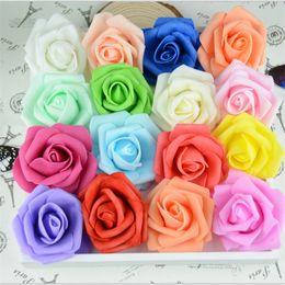 $enCountryForm.capitalKeyWord Canada - 20pcs lot Handmade Artificial Foam Roses PE Flower Head DIY Kiss Ball For Wedding Home Car Decoration Cheap Fake Flowers Wreath