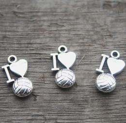 $enCountryForm.capitalKeyWord Canada - 30pcs- I Love Volleyball Charms, Antique Tibetan silver Tone I heart volleyball charm pendants, Jewelry Making 16X9mm