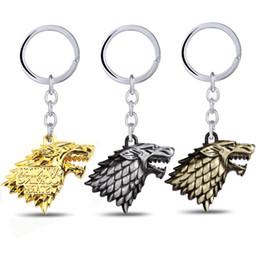 $enCountryForm.capitalKeyWord Australia - 3 Colors Game of Thrones House for Stark DireWolf Head Sigil Silver Metal Keychain