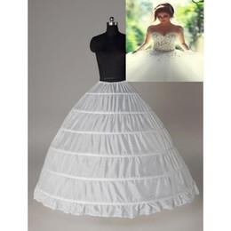 Super barato vestido de baile 6 Hoops anágua casamento Slip Crinoline nupcial Underskirt Layes Slip 6 Hoop saia Crinolina para vestido Quinceanera em Promoção