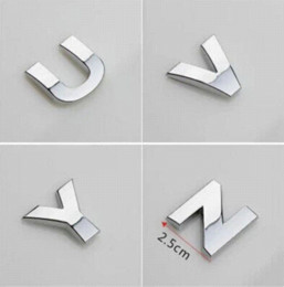 Discount car letter badges - 5PCS lot 3D metal English Letter car stickers Digital Arabic Number Decals DIY Badge Logo emblem for Auto motorcycle suv
