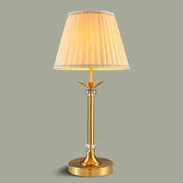 Charming Hig End European American Style Noble Copper Body Fabric Lampshade Led Table  Lamps Retro Decorative Table Lamp Bedroom Lamp Bedside Lamp