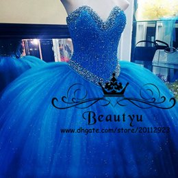 Baile De Fin De Curso Bling Del Azul Real Baratos-Royal Blue Luxury Crystals Quinceanera Vestidos Bling Sequined Sweet 16 Dress 2018 por encargo más tamaño Tulle Ball Gowns Prom Party Vestidos