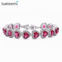shape stone bangles Canada - LUOTEEMI Trendy Heart Shape 4 Color Option 6*6 Heart Zircon Stone Bracelets Bangles for Women White gold-Color Jewelry Gift