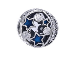 China Authenic 925 Sterling Silver Blue Star Moon Round European Charms Fit For Pandora Style Bracelets DIY Loose Charm supplier charms star sterling suppliers