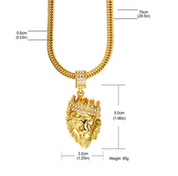 $enCountryForm.capitalKeyWord NZ - Lion Crown Crystal Rhinestone Head Face Pendant 18K Gold Plated Chain Necklace Hipster Street Dance Hiphop Fine Jewelry Men Women