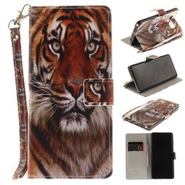 Galaxy Note Cute Covers UK - For Samsung Galaxy S6 S7 S8 note 8 Case Cute Animal Painted Built-in Card Slot Wallet Case Flip Stand Cover Retail Package